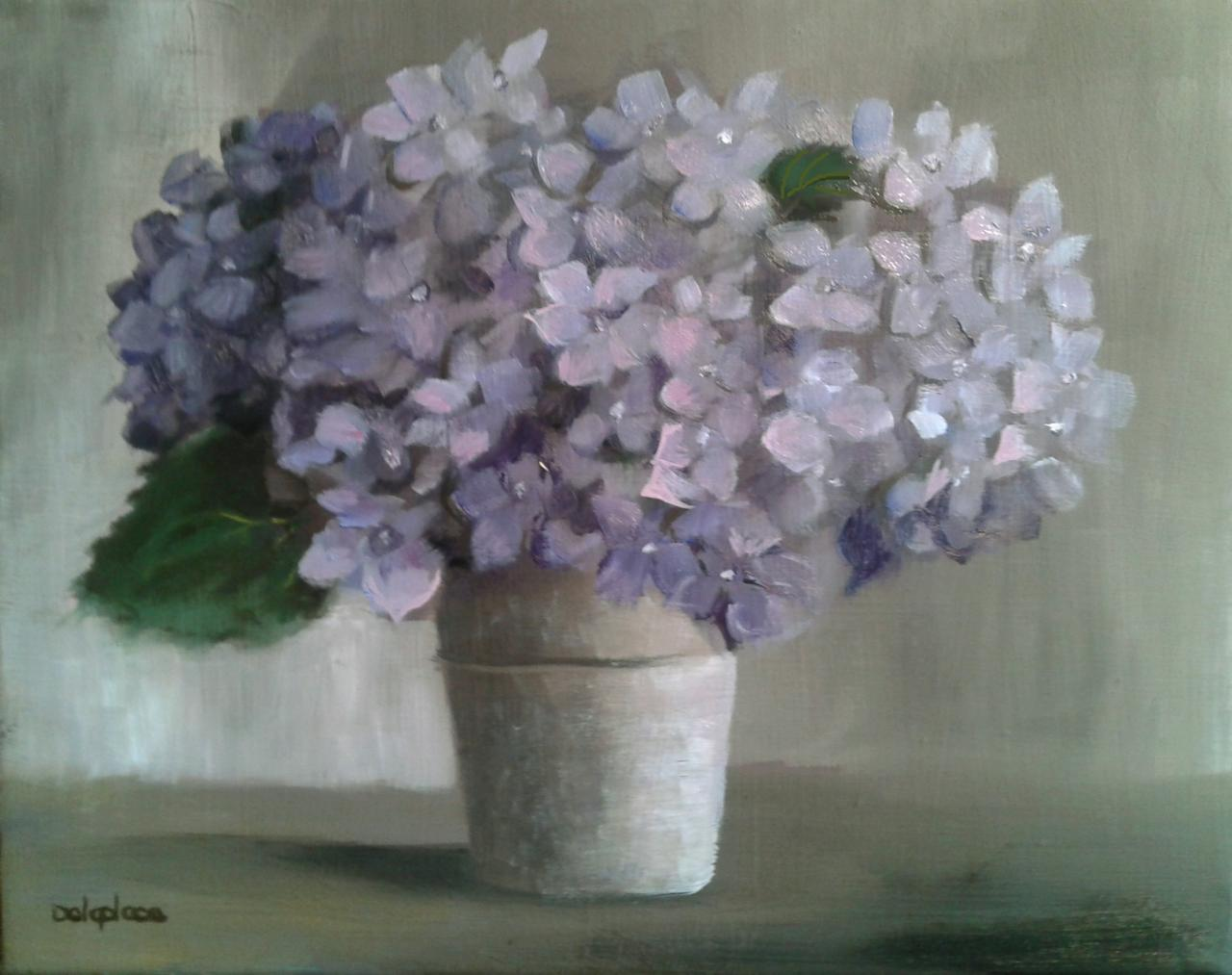Pot d'hortensias bleus