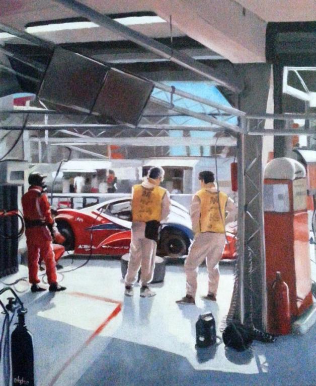 1ere séance d'essais  24 heures du mans. Stand Ferrari