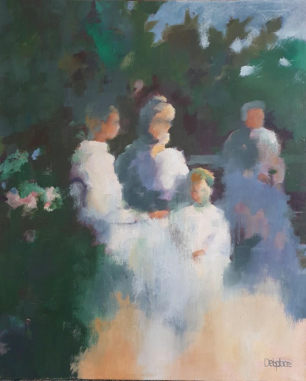 Le thé au jardin - 46 x 55 cm