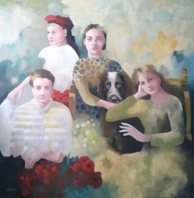 La famille du chien 100x100 cm